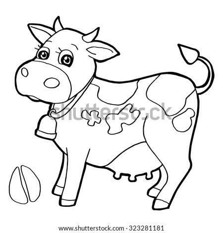 Cattle With Paw Print Coloring Pages Vector