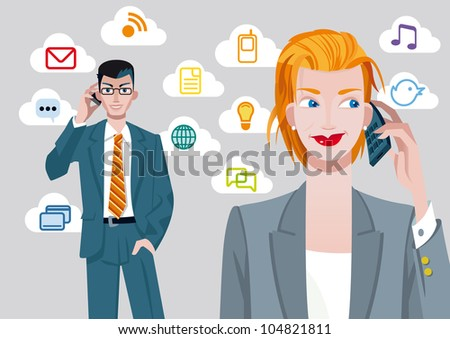 Caucasian businesswoman and businessman talking on mobile phone. Behind their, there are a set of communication icons. - stock vector