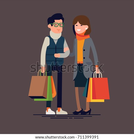 Caucasian couple doing fall season sale shopping. Man and woman in cold season outfits holding shopping bags. Cool vector character design on adult guy and girl with paper bags