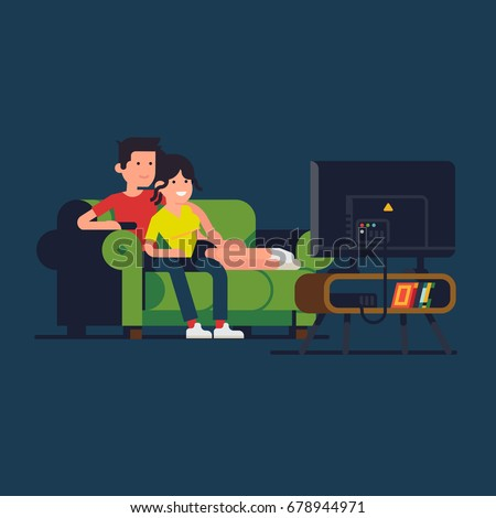 Caucasian couple watching TV. Cool vector flat design illustration on couple enjoying their evening together on sofa watching favorite TV show