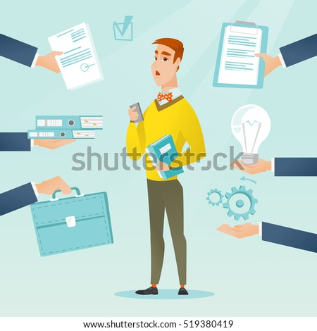 Caucasian hard working businessman. Businessman surrounded by many hands that give him a lot of work. Concept of hard working. Vector flat design illustration. Square layout.