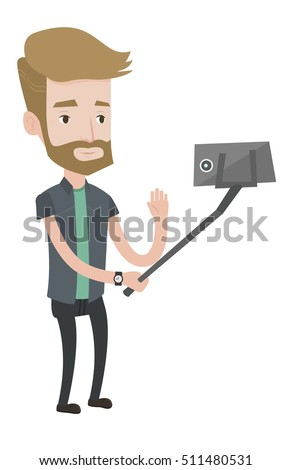 Caucasian hipster man making selfie with a selfie-stick. Man making selfie with cellphone. Young man making selfie and waving his hand. Vector flat design illustration isolated on white background.