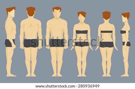 Caucasian man and white woman bodies front, back and profile. Vector infographics illustration - stock vector