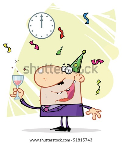 Caucasian Man Toasting At A New Years Party - stock vector