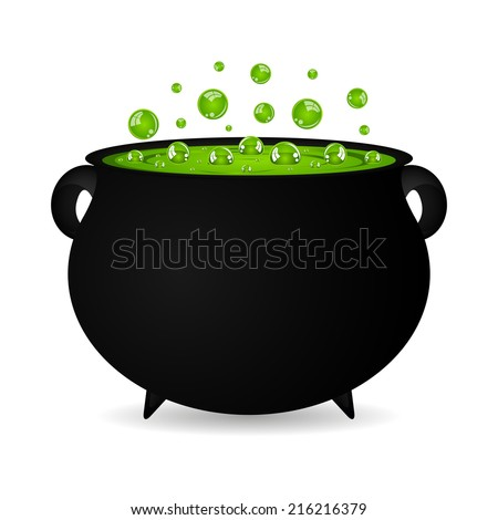 cauldron witches potion for Halloween  - stock vector