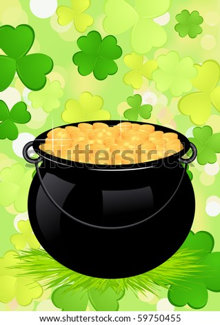 Cauldron with money, vector illustration - stock vector