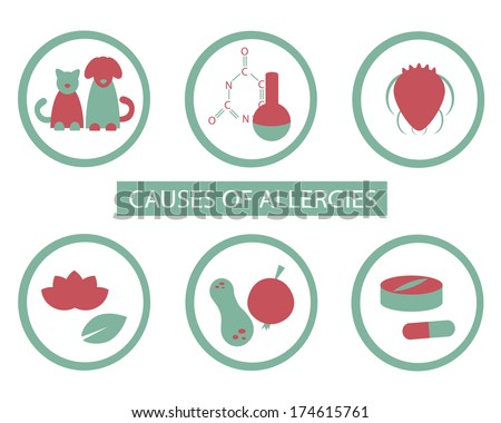 Causes of allergies. Vector signs set. - stock vector