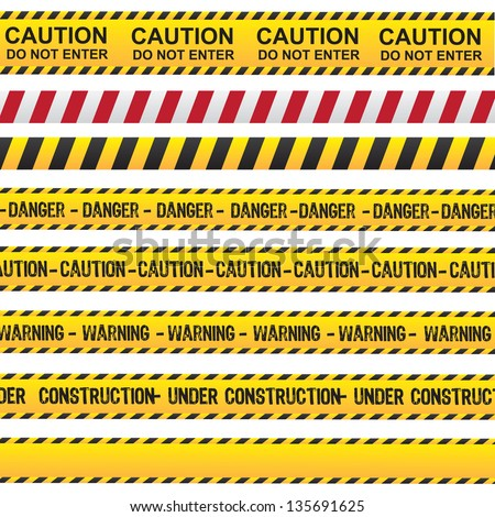 Caution and danger ribbon over white background vector illustration - stock vector