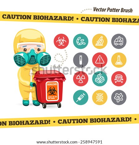 Caution Biohazard Icons and Doctor with Red Container. Isolated on White Background. Used pattern brush with yellow tape included. - stock vector