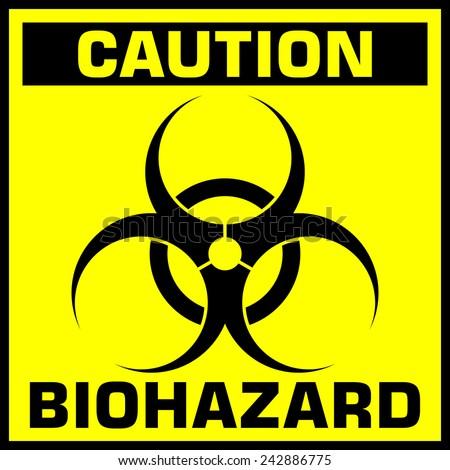 caution biohazard sign. vector illustration - stock vector