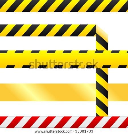 Caution or cuidado warning tape.  Tape is blank so custom text can be inserted.  Tape is seamless, and one version includes a corner so that it may be used as a a border or any other design element.