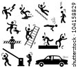 Caution Safety Danger Electricity Shock Slippery Fall Car Accident Icon Sign Symbol Pictogram - stock photo