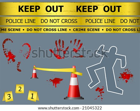 Caution sign lines, body contour, blood marks and cones at the crime scene - stock vector