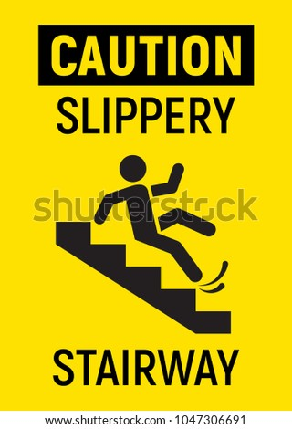 Slippery Stairs. Vector Sign.