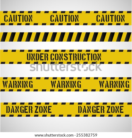Caution stripes collection. Vector art.