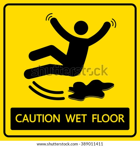 caution wet floor sign and symbol vector illustration - stock vector