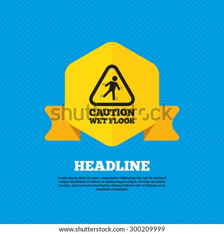 Caution wet floor sign icon. Human falling triangle symbol. Yellow label tag. Circles seamless pattern on back. Vector