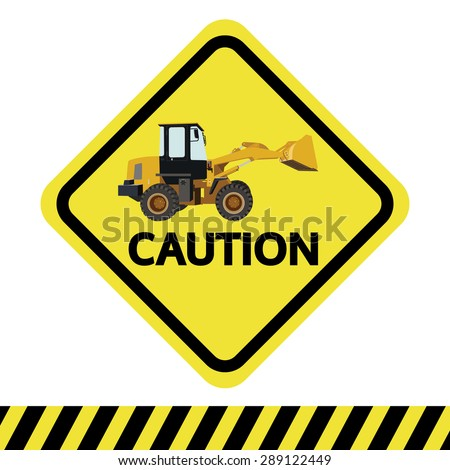 caution with backhoe vector sign - stock vector