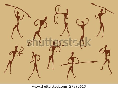 Cave Drawings Of Ancient Hunters, vector silhouettes - stock vector