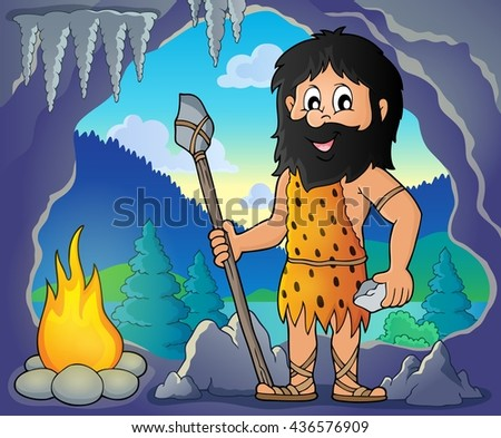 Cave man theme image 1 - eps10 vector illustration. - stock vector