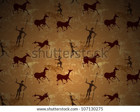 Cave painting ancient art seamless vector background - stock vector