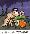 Caveman cooking a lizard over an open fire. Volcanows in the distance - stock vector
