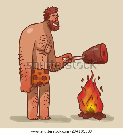Caveman cooking meat on fire, vector - stock vector