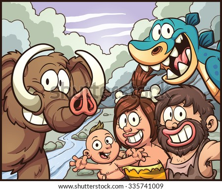 Caveman family taking a selfie. Vector clip art illustration with simple gradients. Some elements on separate layers for easy editing. - stock vector
