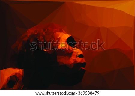 caveman geometric vector portrait - stock vector