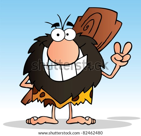 Caveman Gesturing The Peace Sign With His Hand.Vector Illustration