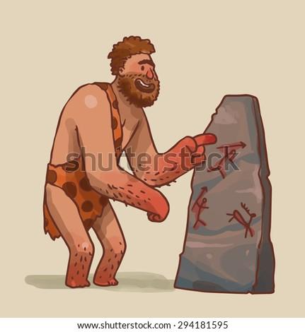 Caveman making art, vector - stock vector