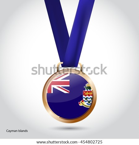 Cayman Islands Flag in Bronze Medal. Olympic Game Bronze Medal. Vector Illustration - stock vector
