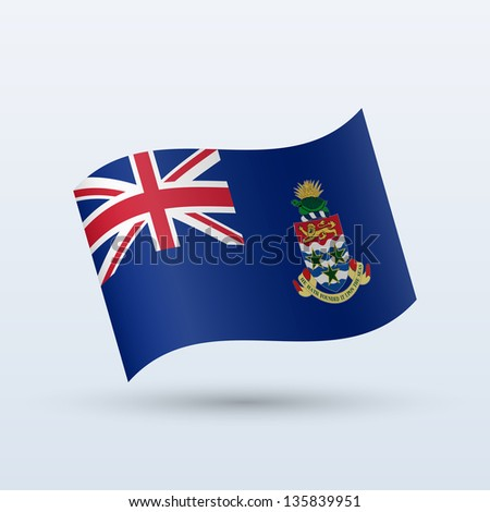 Cayman Islands flag waving form on gray background. Vector illustration. - stock vector