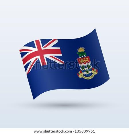 Cayman Islands flag waving form on gray background. Vector illustration. - stock vector