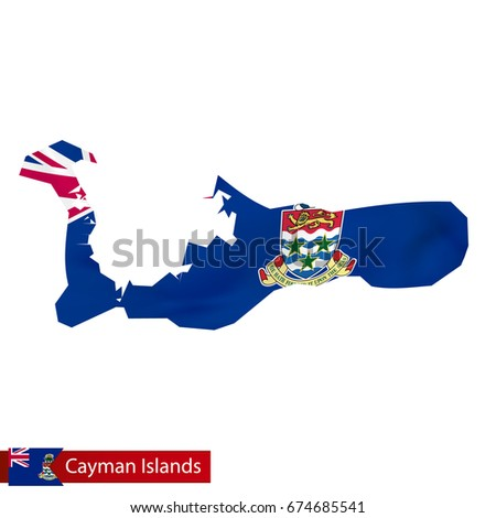 Cayman Islands Map Waving Flag Country Stock Photo Photo Vector