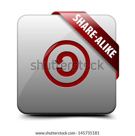 CC SA Share-alike button - stock vector