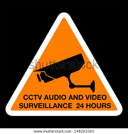 CCTV audio and video surveillance 24 hours, sign, vector - stock vector