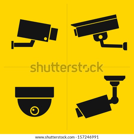 CCTV icons set - stock vector