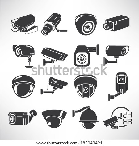cctv icons, surveillance camera icons set - stock vector