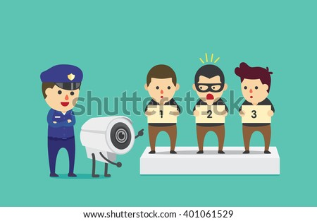 CCTV identify 1 people from 3 suspect for help police to investigation and find the criminal. - stock vector