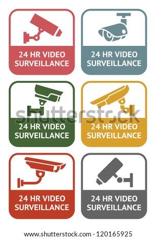 CCTV labels - retro colors, vector illustration - stock vector