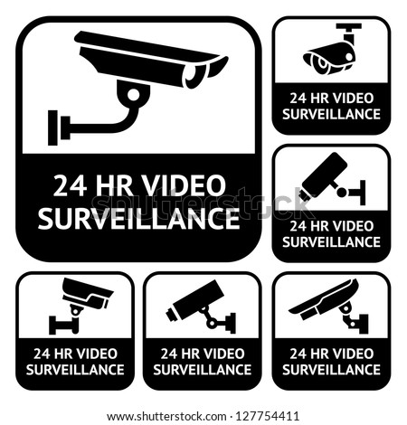 CCTV labels. Set symbols video surveillance, vector illustration - stock vector