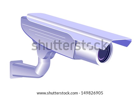 CCTV security camera isolated on white background, vector - stock vector