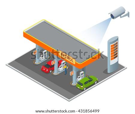 CCTV security camera on isometric illustration of petrol diesel station. 3d isometric vector illustration.  - stock vector