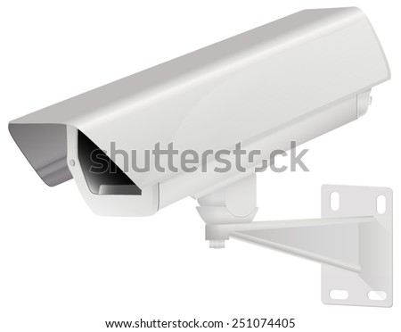 CCTV security camera on white background. Vector illustration.