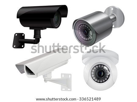CCTV security camera. Video surveillance. Vector illustration isolated on white background - stock vector
