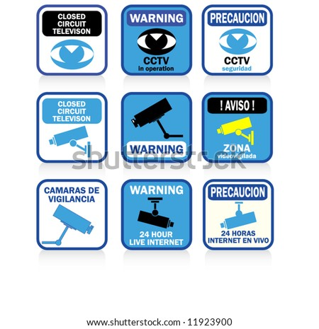CCTV signs and warnings BLUE version - stock vector