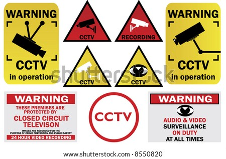 CCTV signs and warnings - check my gallery for other CCTV pack or JPEG file directly - stock vector