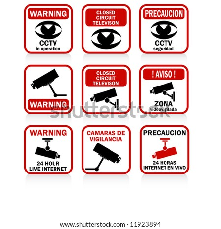 CCTV signs and warnings RED version - stock vector