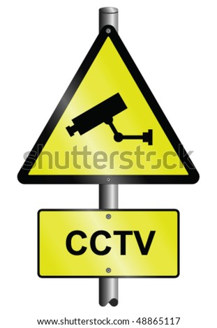 CCTV warning graphic and text signs mounted on post - stock vector